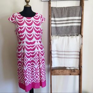 Talbots Pink and White Pattern Midi Dress Cap Sleeves Size 12